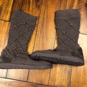 New UGG Argyle Sweater Knit Boot Size 9